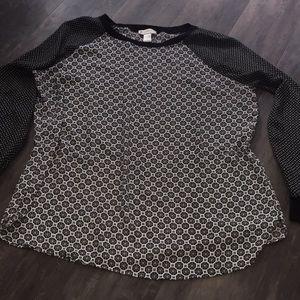 LOFT mixed-pattern top.  Sz.L